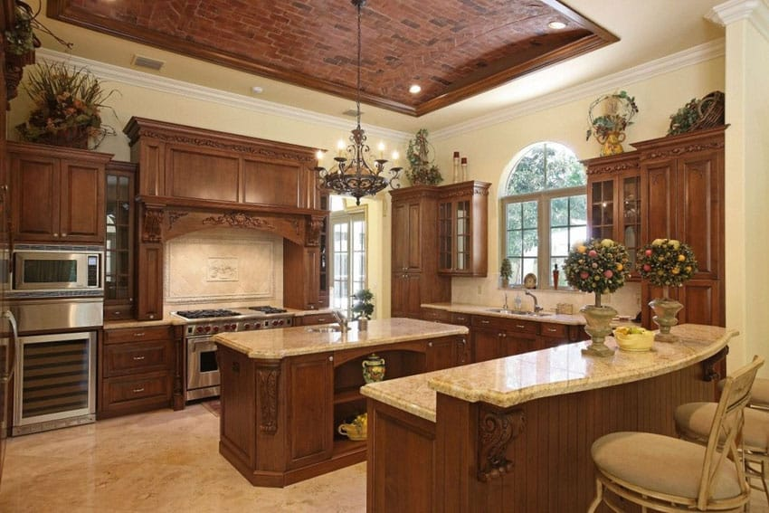 Traditional kitchen with brick arched ceiling
