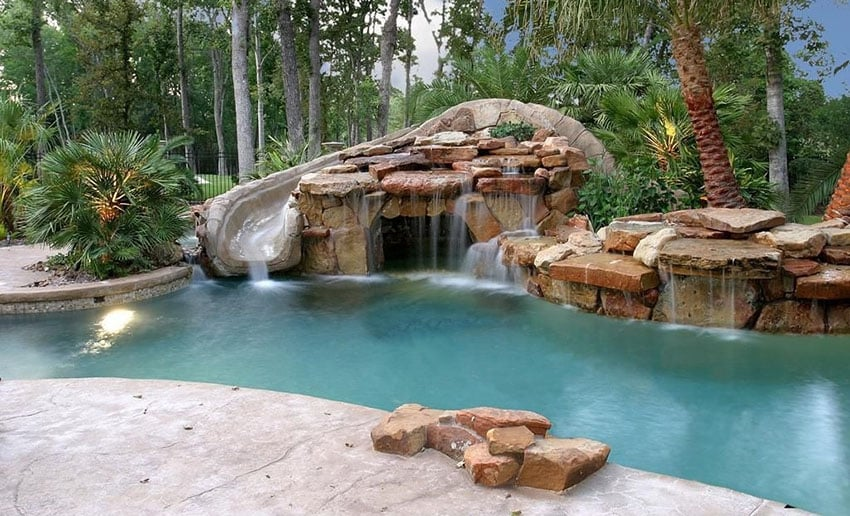 30 swimming pool water features waterfall design ideas for Natural rock swimming pools
