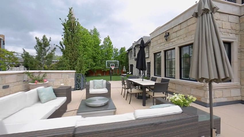 Backyard patio with outdoor furniture