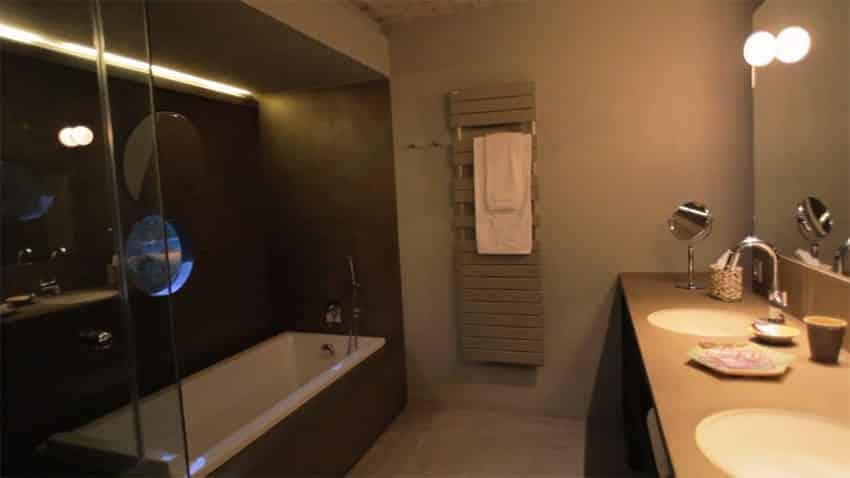 Bathroom with tub in modern house