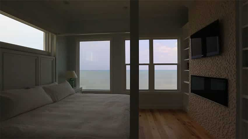 Beach home bedroom at night