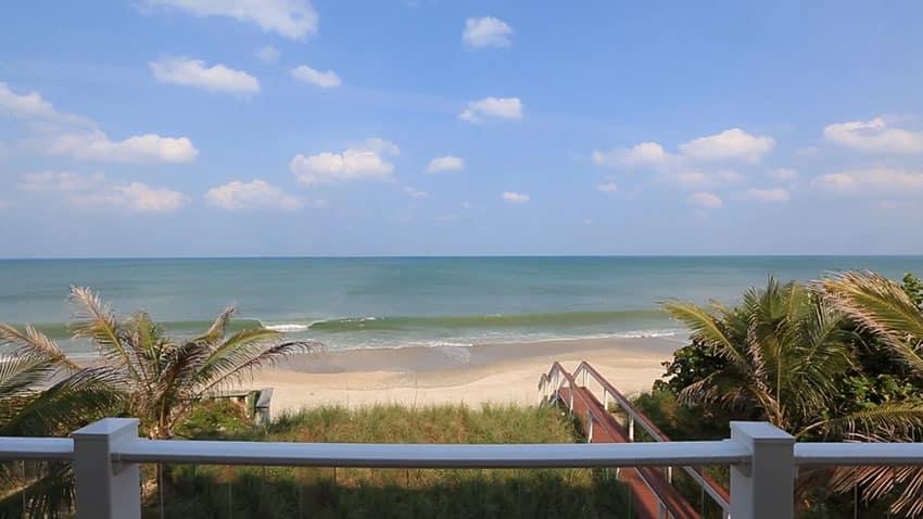 Beach house deck view of ocean