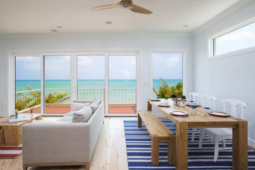 Beach house living room with ocean view