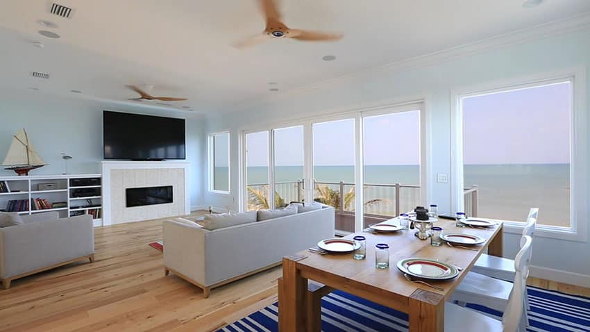 Beach house living room with oceanview wood flooring