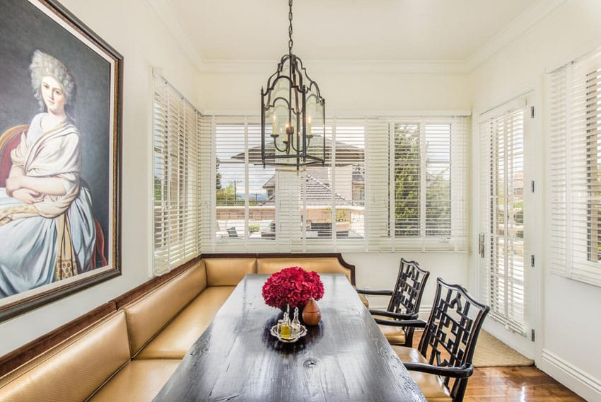 Breakfast nook at french provincial home