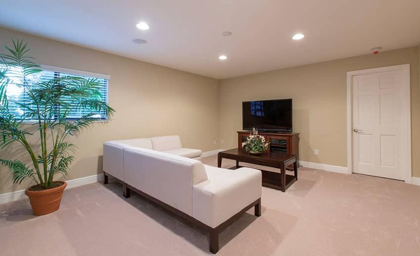 Clean minimalist living room with dark yellow walls