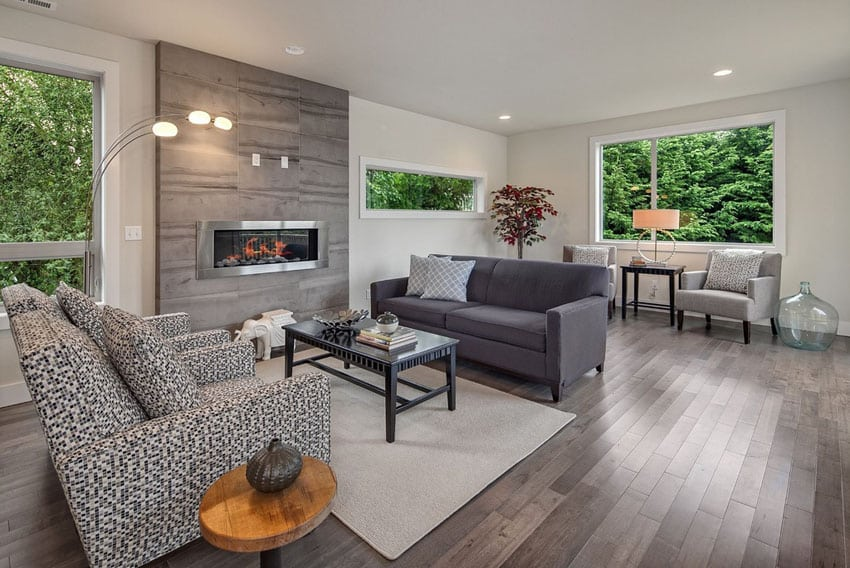 Contemporary living room with fireplace and tile surround