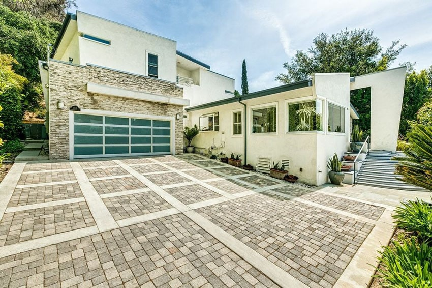 Custom pavers driveway at modern house