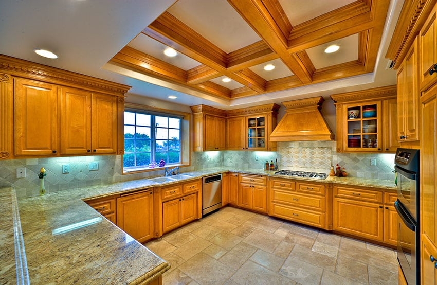 Custom solid wood kitchen with coffered ceiling