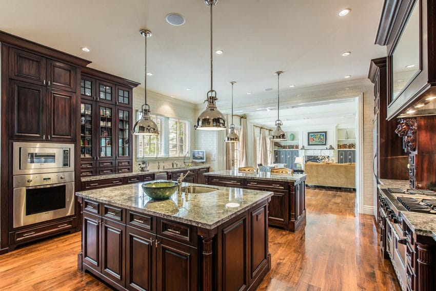 Mahogany cabinet kitchen in French provincial home