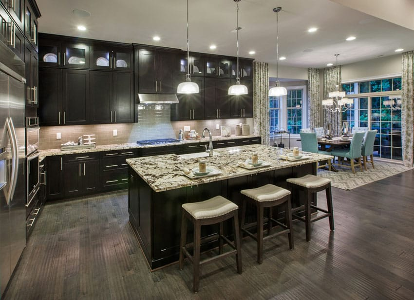 Dark cabinet kitchen with pendant lights contemporary style