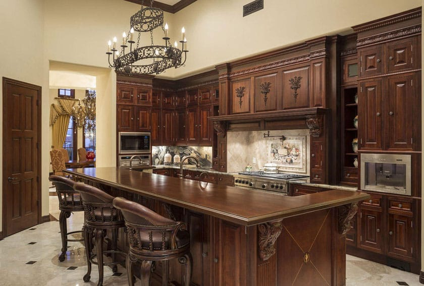Decorative wood kitchen custom wood island