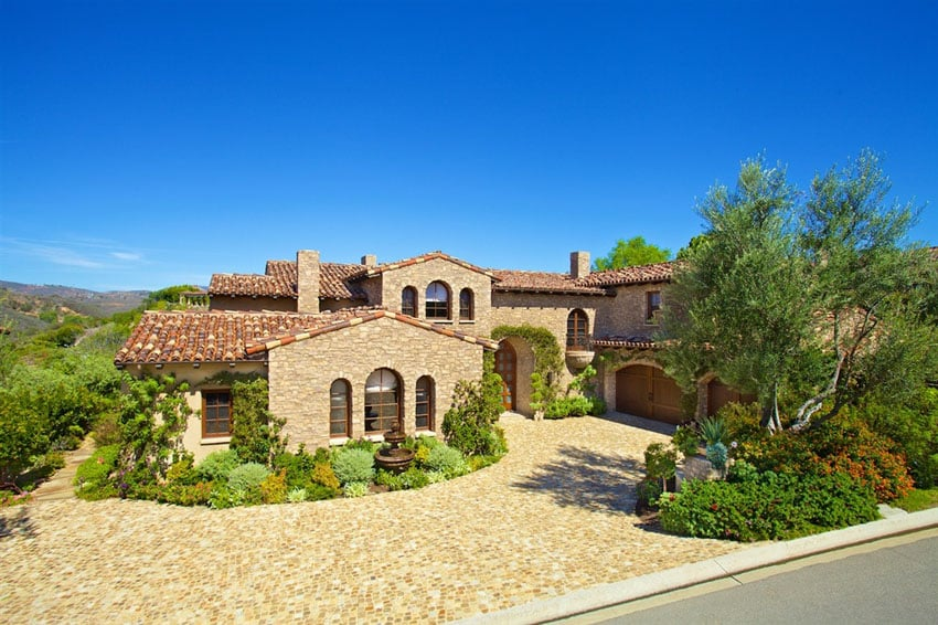 Exterior of Tuscan style multi million dollar home