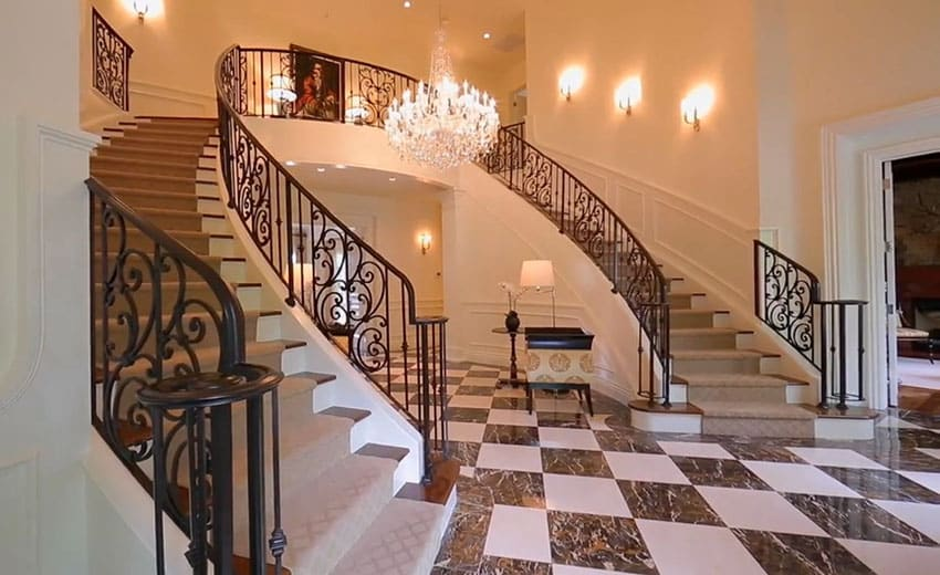 Foyer entry at french provincial house