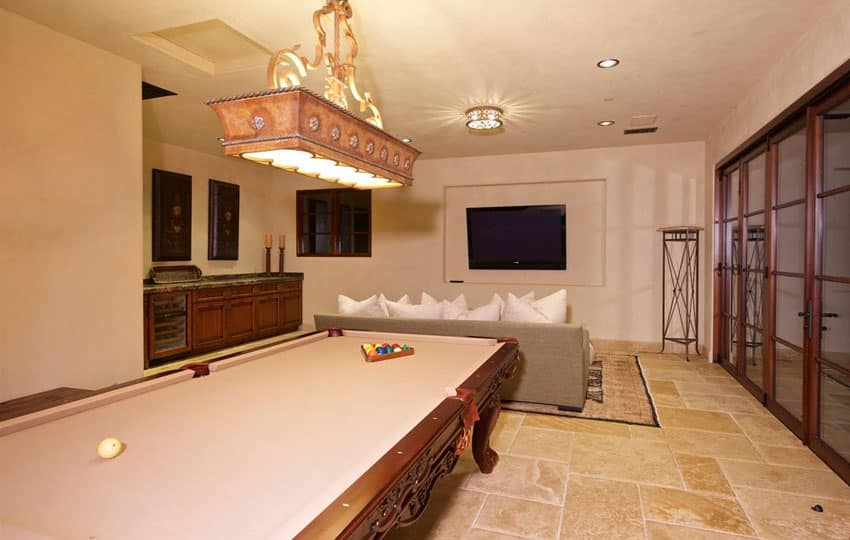 Game room in Italian style home