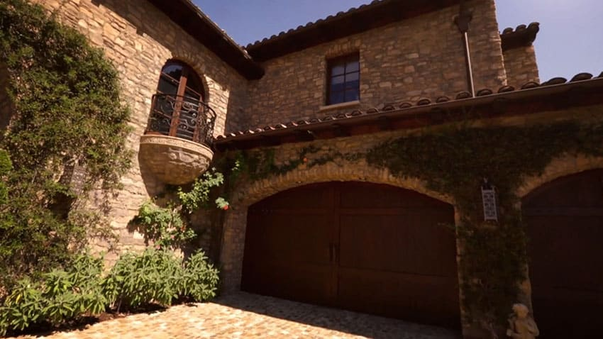 Garage entry to Tuscan style home