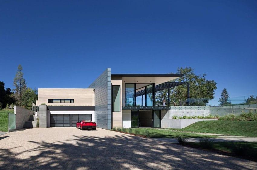 Gravel driveway at modern house