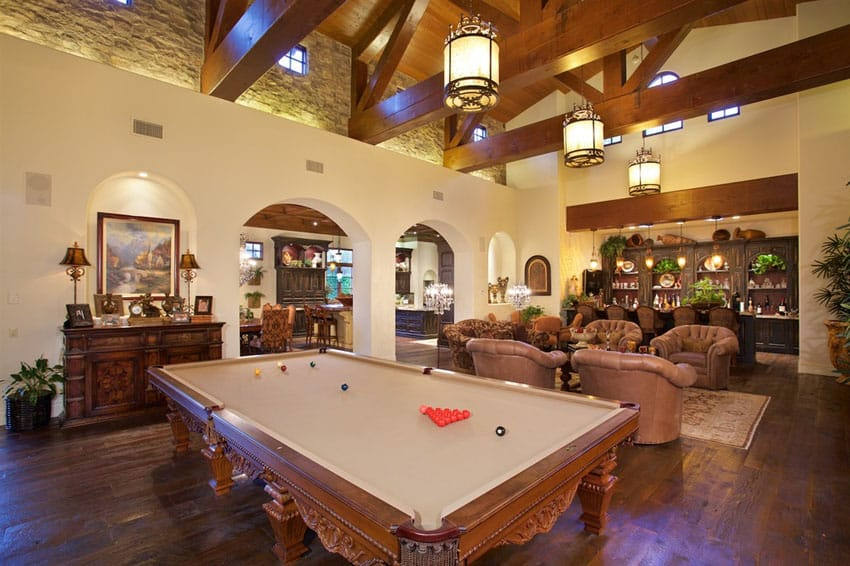 Large pool table in luxury house