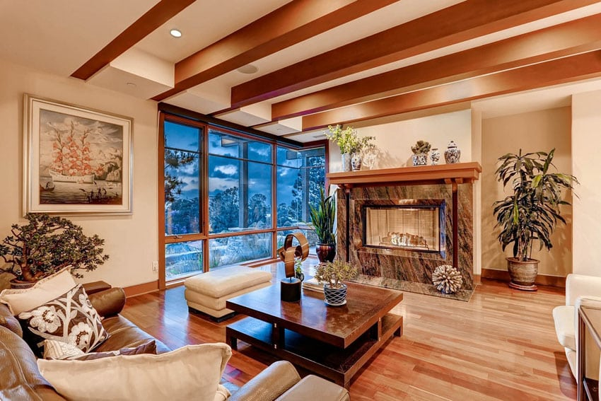 Living room with Brazilian mahogany hardwood flooring