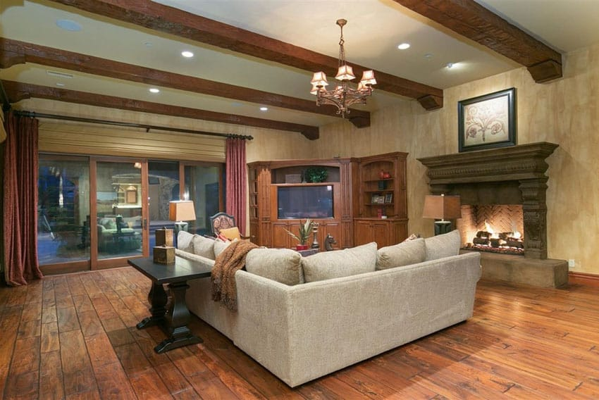 Living room with teak hardwood flooring