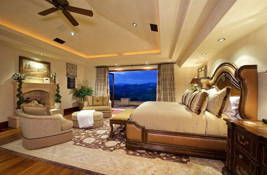 Luxury bedroom design with elegant furniture and bed