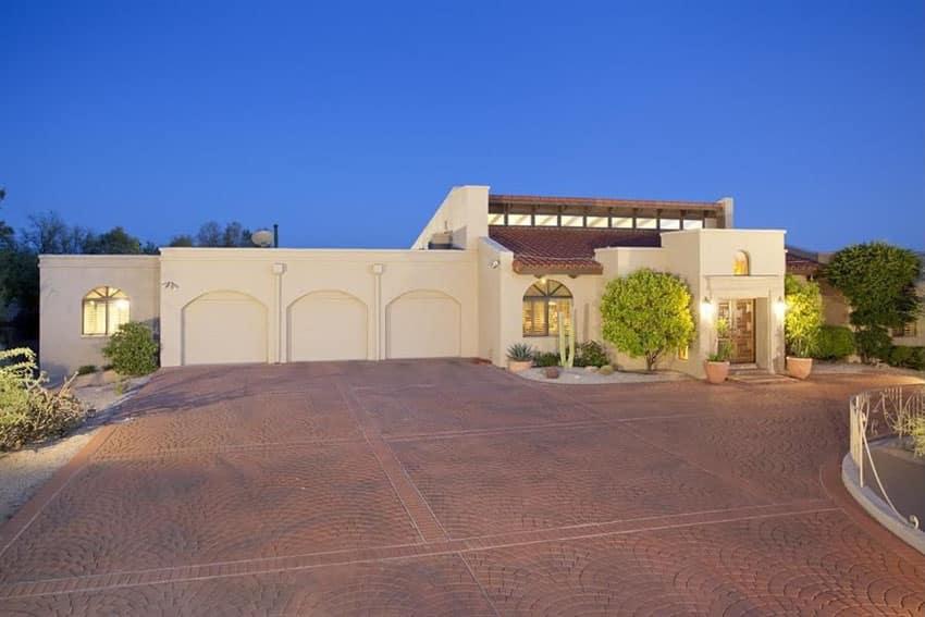 Luxury brick driveway at modern home