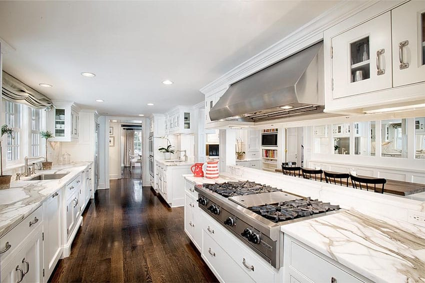 White Kitchen Cabinets Oak Wood Floors