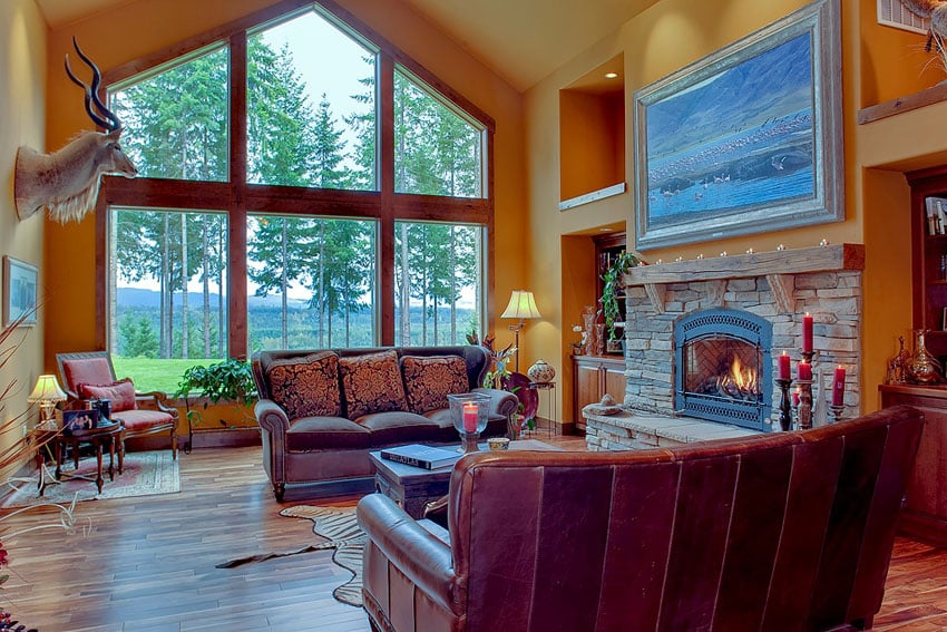 Luxury living room with tigerwood hardwood flooring