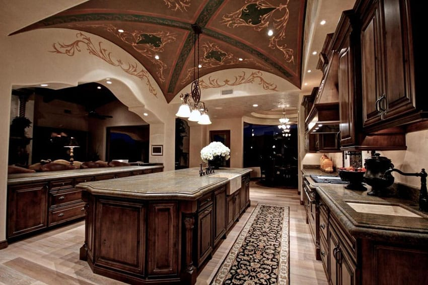 Luxury Mediterranean kitchen with decorative high ceiling