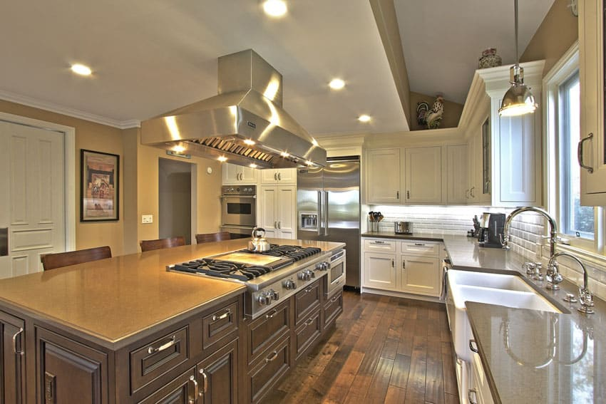 Luxury modern kitchen with decorative wood cabinets