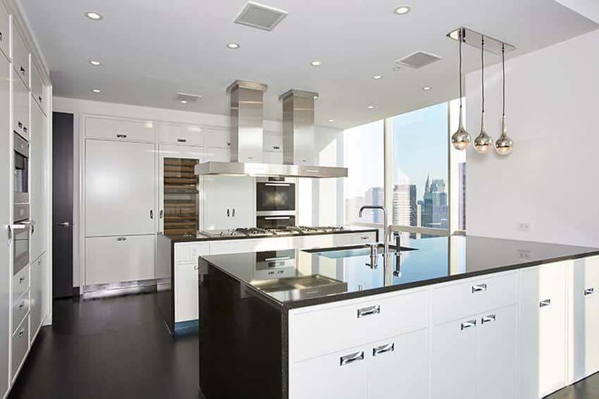 Modern black counter and white cabinet kitchen