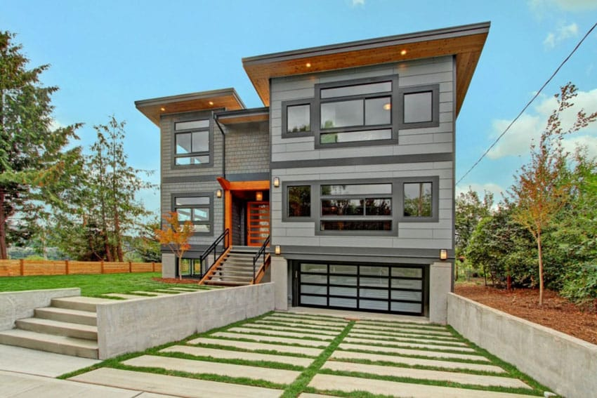 Modern driveway with concrete and grass in between