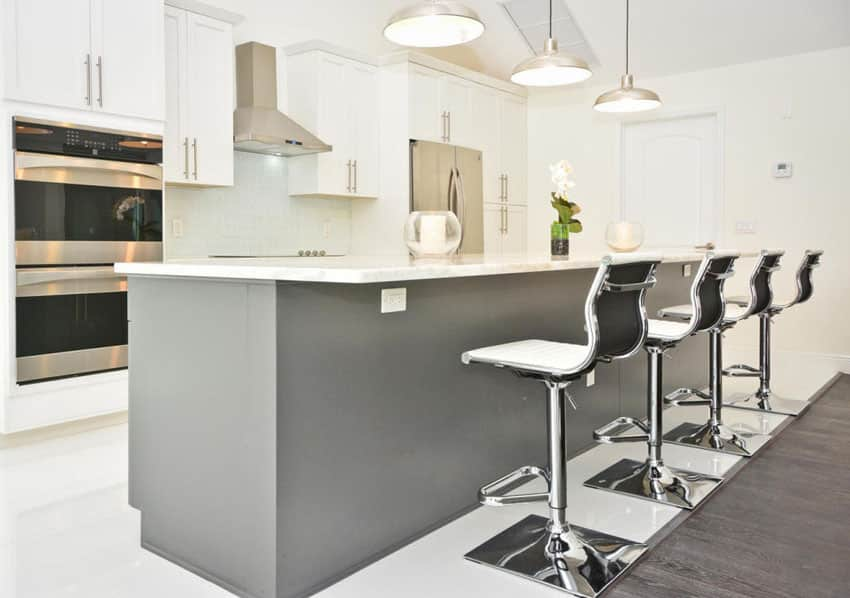 Modern white cabinet kitchen with gray island and metal bar stools