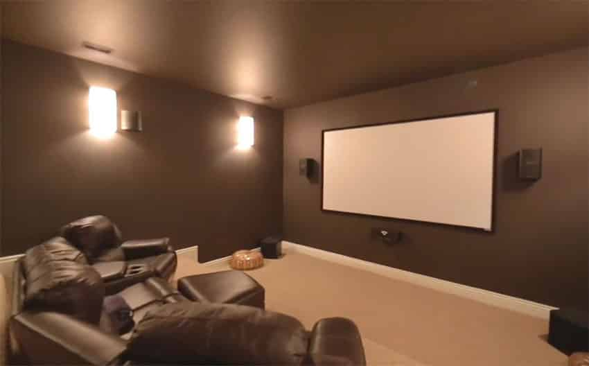 Movie room with large screen in house