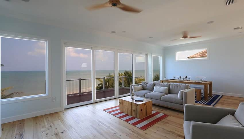 Oceanview living room view at beach home