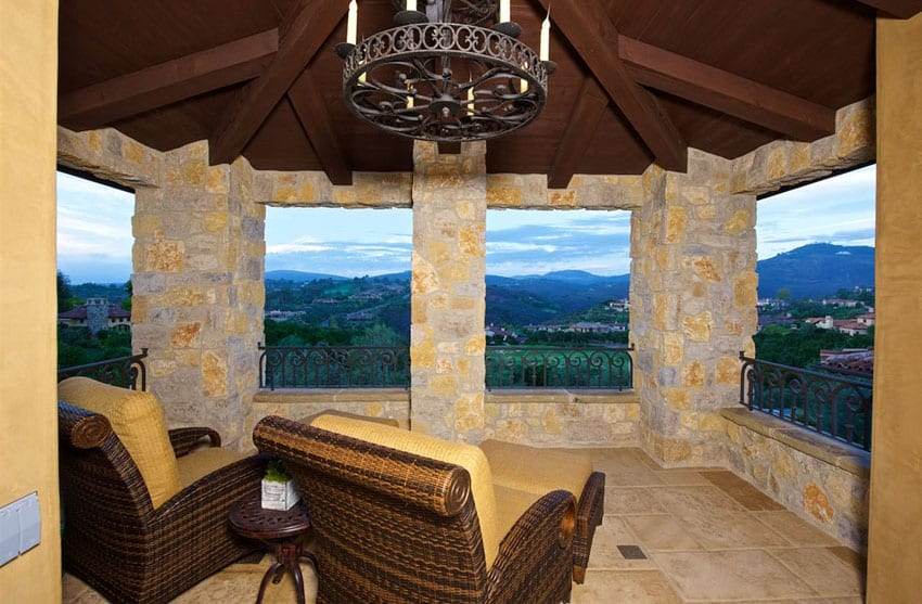 Open air patio with covered roof and panoramic views