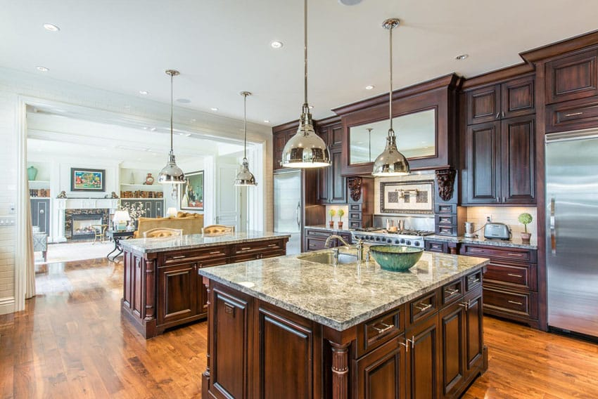 Open plan kitchen at French provincial house
