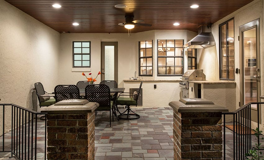 Outdoor kitchen at Tudor style home