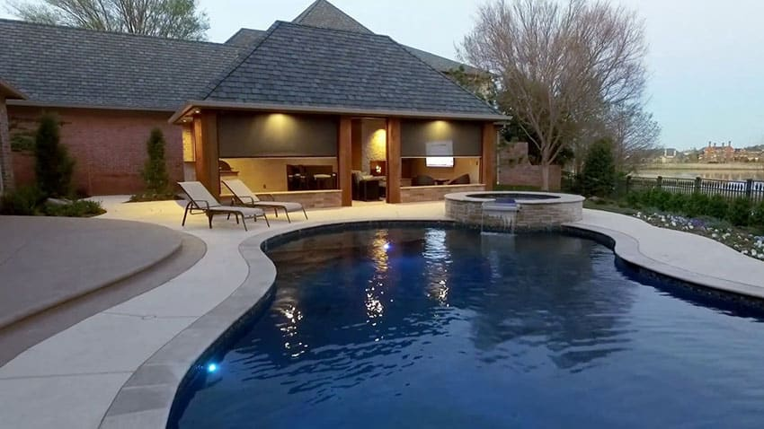 Pool gazebo with outdoor kitchen