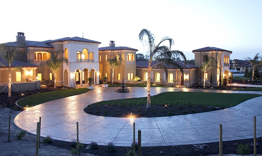 Poured concrete circular driveway at luxury home