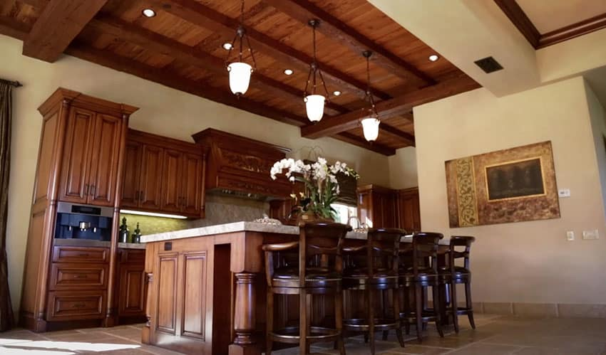 Rustic Italian style wood kitchen with eat in dining island