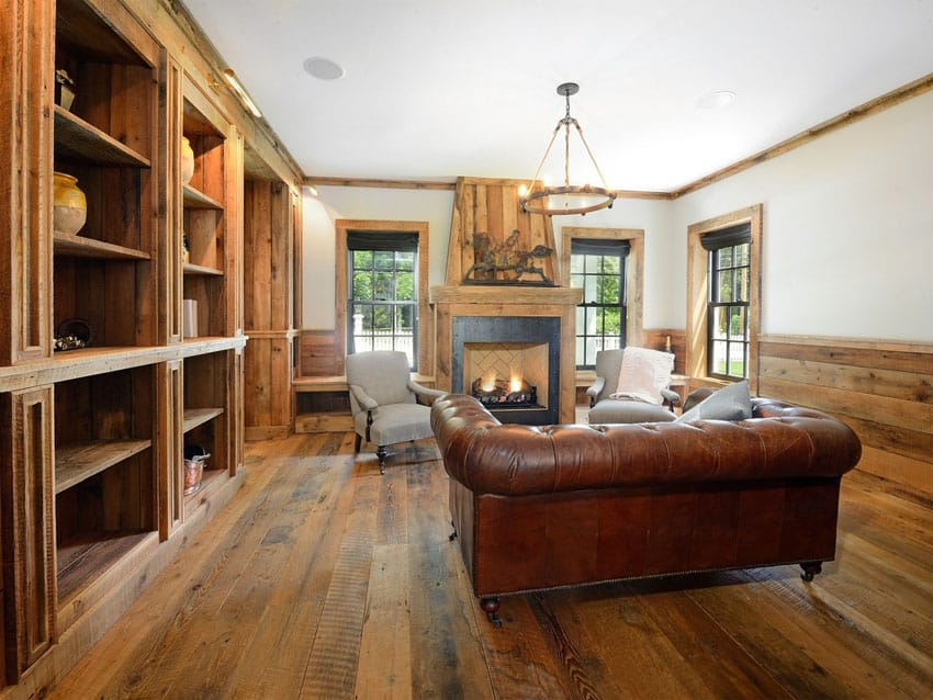 Rustic living room with wide plank golden pecan hardwood floor