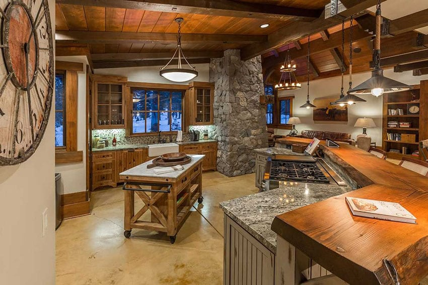 Rustic wood kitchen with breakfast bar and portable island