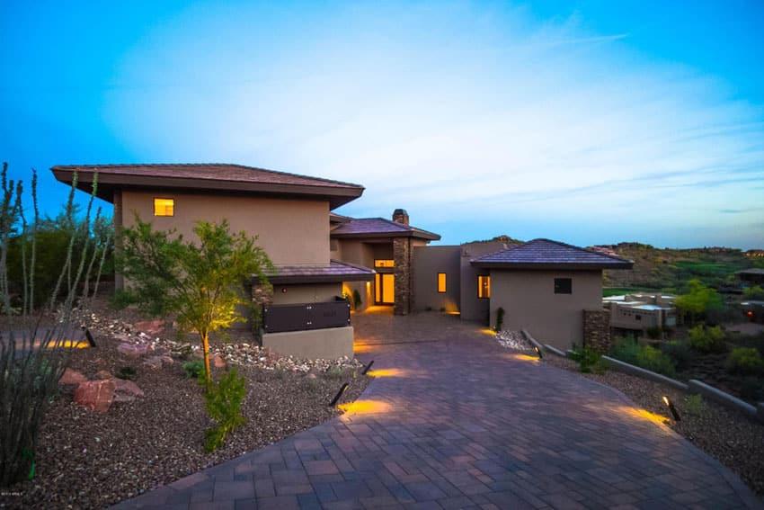 Slate stone pavers driveway at luxury home