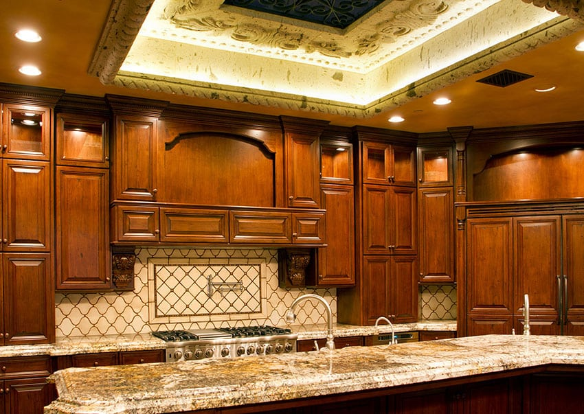 Solid wood custom cabinet kitchen with honed granite counter