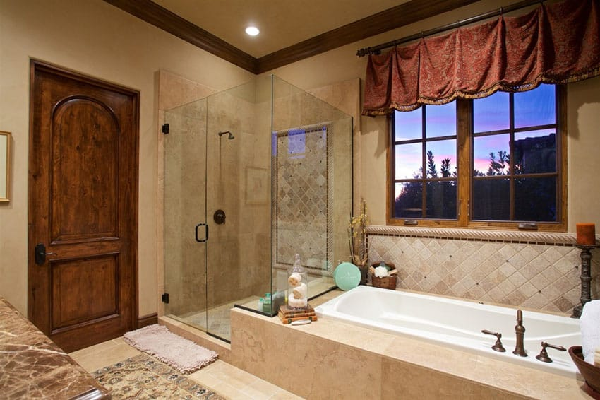 Tile shower in Tuscan style home
