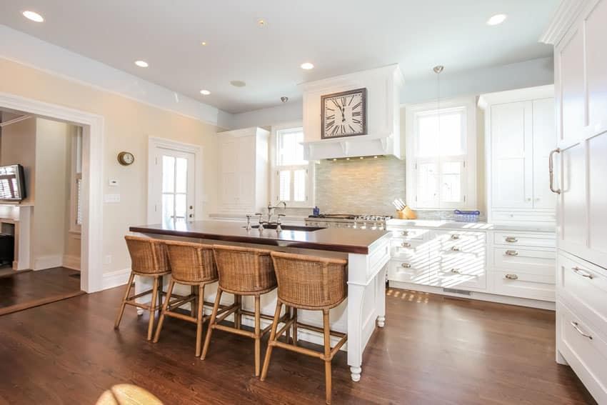 Traditional kitchen with white cabinets butcher block island