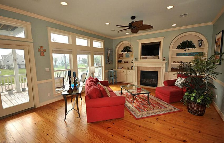 Traditional living room with heart pine wood flooring