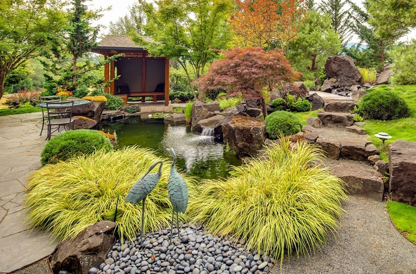 Asian garden with small pond and flowing waterfall