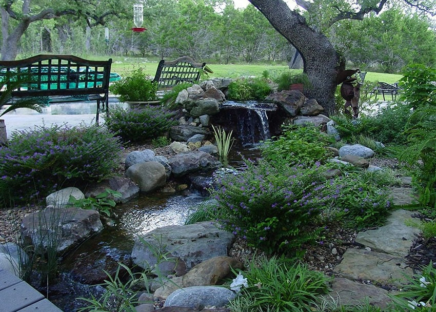 Backyard garden water feature river under tree and next to wood benches